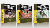 Australian plain cigarette packaging features graphic warnings