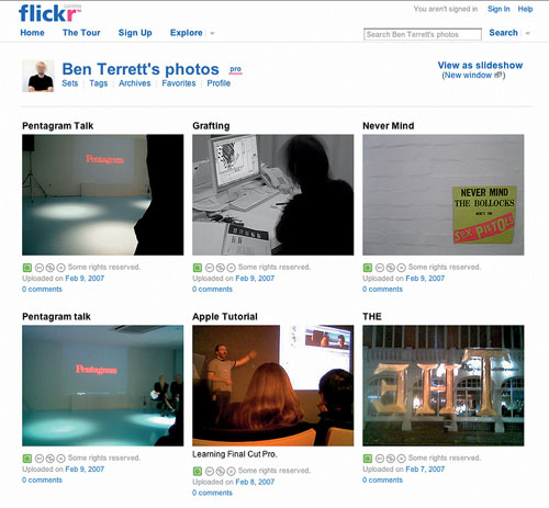 Flickr screen grab