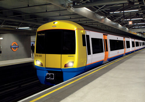 A London Overground train, made by Bombardier, with Tube-style branding and livery in LO's corporate colour, orange