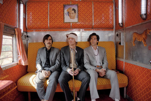 Scenes from The Darjeeling Limited, with production design by Mark Friedberg, filmed mostly on a moving train in India