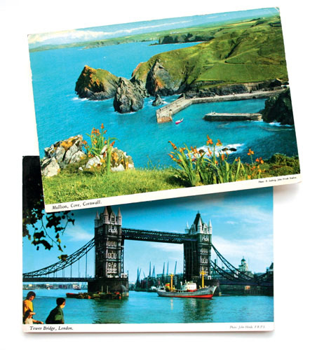 Two John Hinde postcards, of Mullion, Cove, Cornwall and Tower Bridge, London