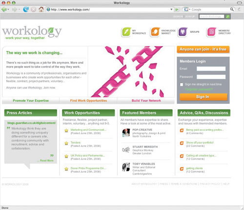 Workology.com's homepage, designed by Smith & Milton