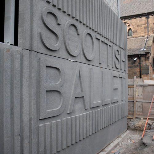 The 2m high, street-level concrete Scottish Ballet