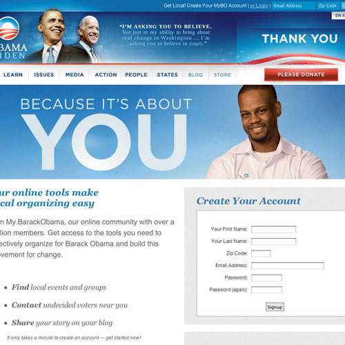 The home page of the Barack Obama website