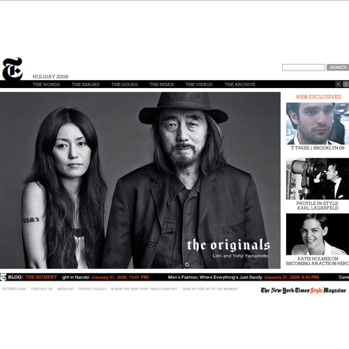 Website for T, The New York Times style magazine –