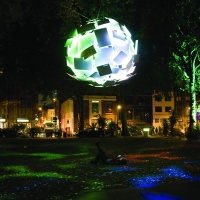 An interactive lighting installation in London's Hoxton Square