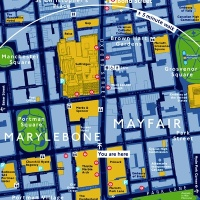 Legible London map of the Marylebone and Mayfair areas, created by Applied Information Group