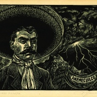 A woodcut portrait of Mexican revolutionary hero Emiliano Zapata, c1953