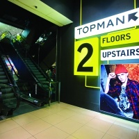 Wayfinding for Topman's relaunched Oxford Street store in London, by Dalziel & Pow