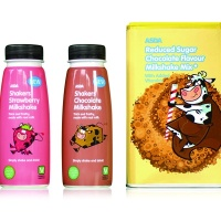 Elmwood's milkshake packaging for Asda, with illustrations by Andrew Painter