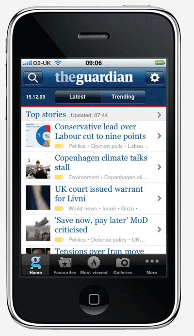 The Guardian and Distill magazine apps can be downloaded to 3 4 selected mobile handsets
