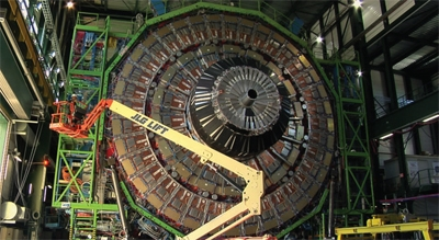 An image showing the construction of the CMS detector for Cern