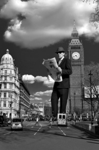 Peter Doherty, joint creative director of International Life magazine, stands tall against Big Ben