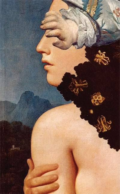 Madam Lacleur, collage from The Mysteries of Udolpho series, 1975