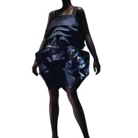 Dress and shoes from Issey Miyake's 123 5 collection, based on two-dimensional geometric shapes