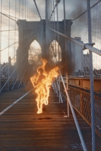 Minotaur burning man on Brooklyn Bridge, by Paolo Buggiani
