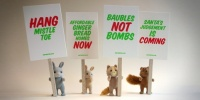 Furry creatures take to the streets for One Point Oh's Xmas placards