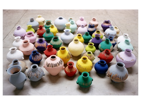 Ai Weiwei, Colored Vases, 2006. Neolithic vases (5000-3000 BC) and industrial paint, 51 pieces, dimensions variable. Courtesy the artist