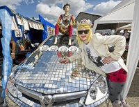 Artist Pam Hoggat the Vauxhall Art Car Boot Fair