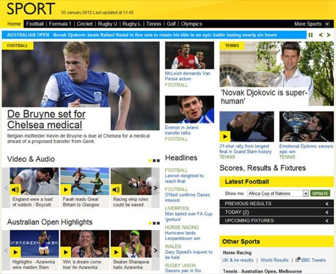 The New Bbc Sport Website Features A Shift From Vertical To Horizontal Navigation And According To The Bbc Bigger Bolder Images This Is The First