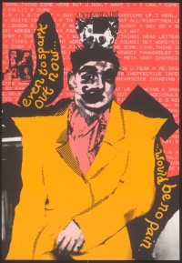 """Even to spark out now would be no pain"", poster promoting the ""Anti-Art Fair"" with a portrait of Trojan . Designed by John Maybury, 1986"
