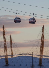 Cable cars over the O2 Arena