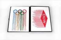 The Olympics rings and the Dow logo. Liquidated