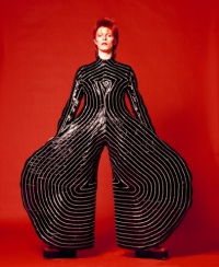 Striped bodysuit for Aladdin Sane tour. Design by Kansai Yamamoto. Photograph by Masayoshi Sukita 1973