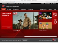 Virgin TV Anywhere homepage