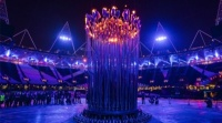 Thomas Heatherwick's Olympic Cauldron is lit