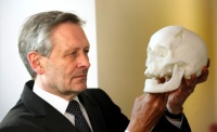 Lord Mayor of Leicester Sir Peter Soulsby, with the recreated skull of Richard III