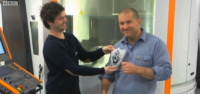 Blue Peter's Barney Harwood with Sir Jonathan Ive