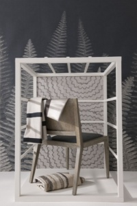 Wood Back Side Chair at Bolier by Decca Furniture, Cable fabric by Harlequin, Kurt by Brochier at Altfield. Fabric under chair, Kerala at Nobilis