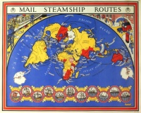 GPO Mail Steamship Routes, 1937. Produced for the General Post Office
