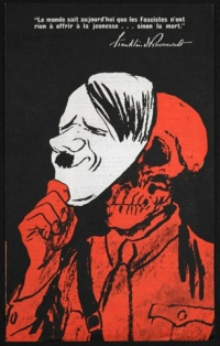 Franklin Roosevelt's message to young people (illustrated with Hitler mask and skull)