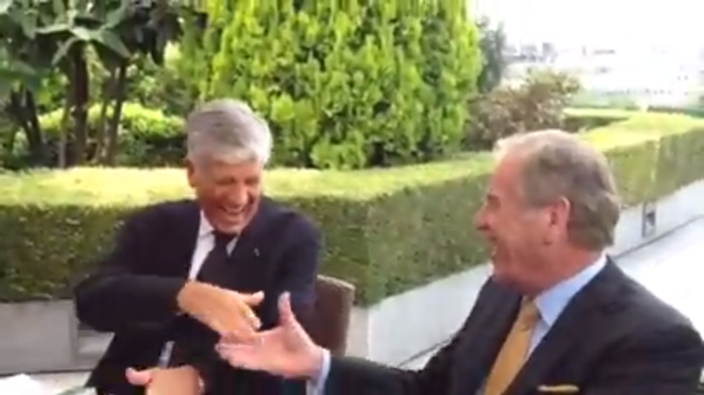 Maurice Lévy and John Wren celebrate the Omnicom/Publicis merger