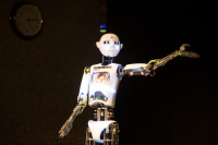 Comedy Lab - Human vs Robot. A session at Hack The Barbican By Tiernan Douieb, Andrew O'Neill and RoboThespian