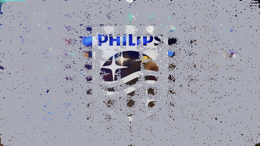 The new Philips logo is revealed bit-by-bit