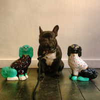 Beach London French bulldog Merv and his ceramic pals