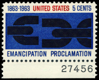 Emancipation Proclamation stamp (1963), by Georg Olden