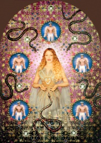 "Jean Paul Gaultier The Virgin with the Serpents (Kylie Minogue), 2008 Virgins (or Madonnas) collection, ""Aure´ole"" gown. Haute couture spring/summer 2007 Sky blue pleated tulle gown with ""rays of light"" gold lame applique´s, long panels floating from the"