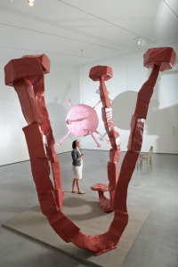 Foreground: Franz West, 'Stonehenge', 2011. Franz West, 'Epiphanias an Stühlen', 2011.
