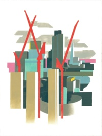 Red Cranes Cranes and City II. Linocut 2013. Commissioned by Pinsent Masons.