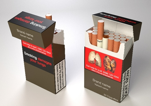 Proposed design for UK plain cigarette packaging, released by the Department of Health