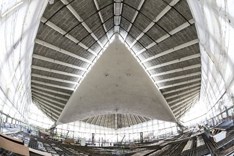 The hyperbolic paraboloid roof at the Design Museum's new home