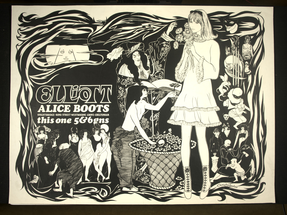 Poster advertising ladies boots manufactured by T Elliot & Sons, incorporating a pastiche of designs after Aubrey Beardsley. 1960s © Victoria and Albert Museum, London