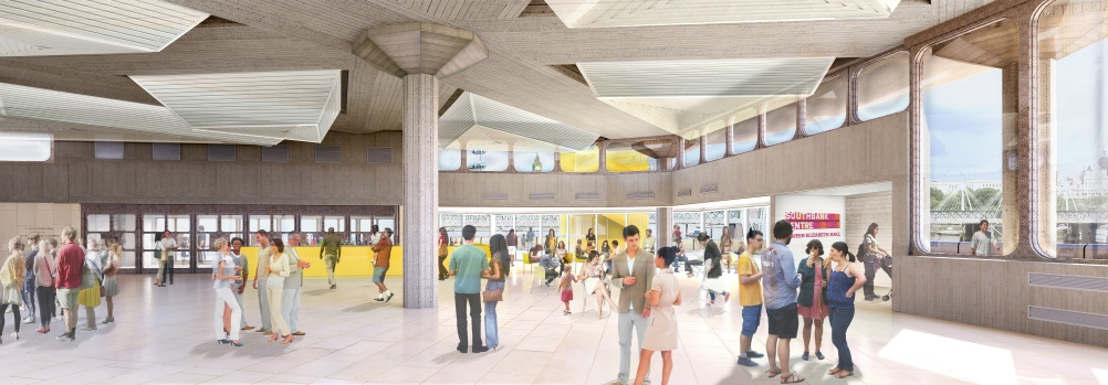 Festival Wing Refurbishment Project - Artist impression of Queen Elizabeth Hall Foyer with improved access and views to the terraces[1]