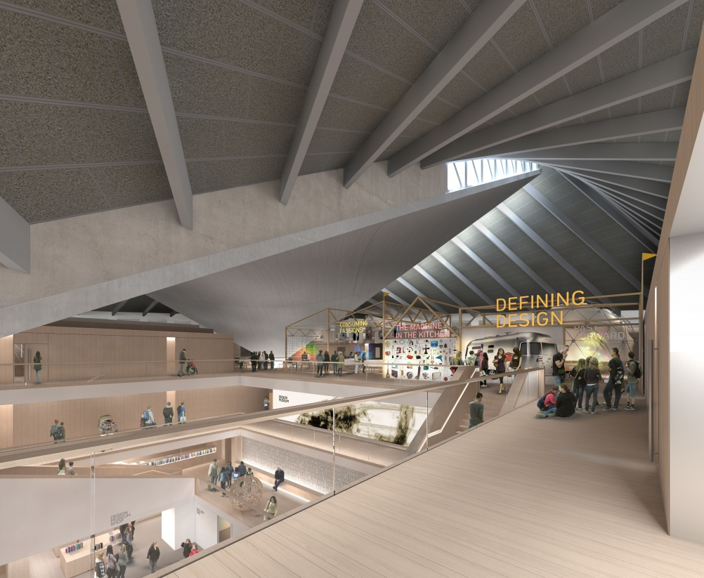 Render of the top floor in the new Design Museum, Kensington © Alex Morris
