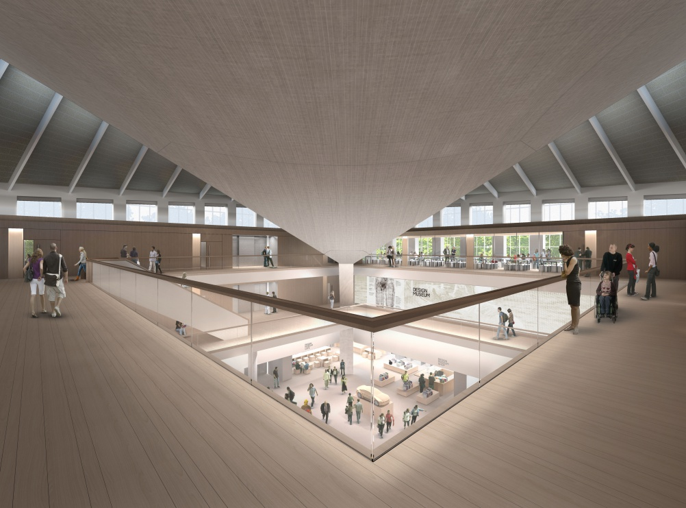 Design Museum Kensington render Top Floor - view to Atrium credit Alex Morris Visualisation[2]